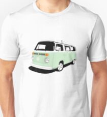 VW Camper Late Bay pale green and white T-Shirt