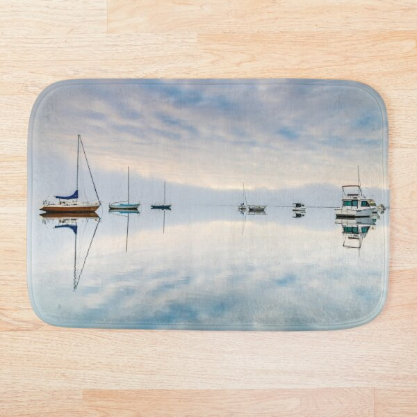 Clouds, boats and reflections Bath Mat
