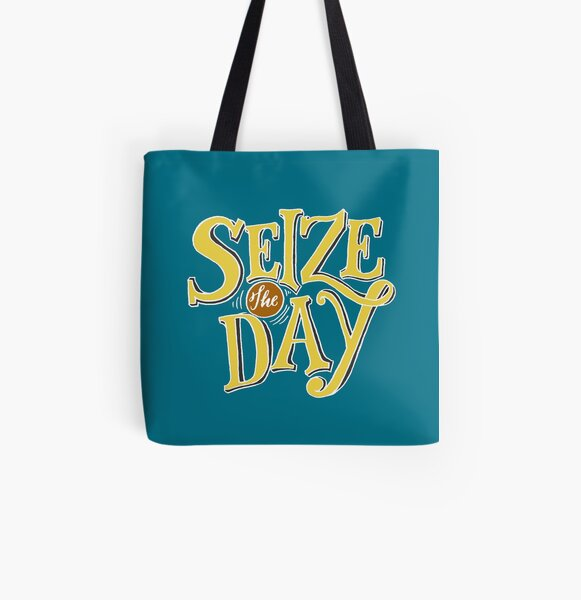 Seize The Day - Yellow Text All Over Print Tote Bag