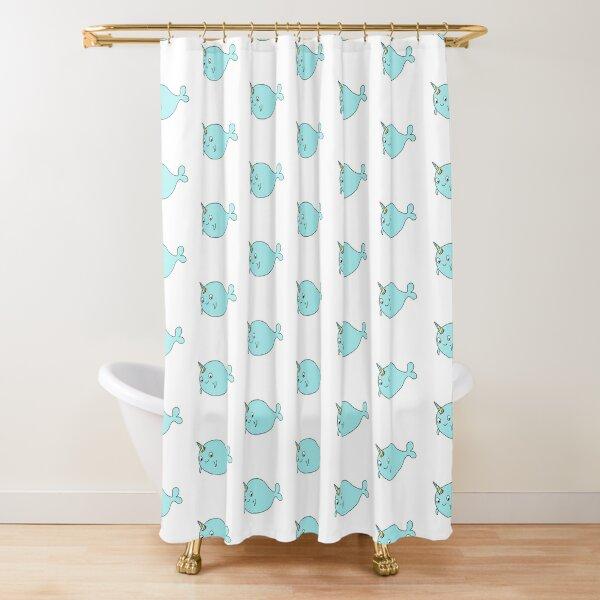 Narwhal cartoon digital design Shower Curtain