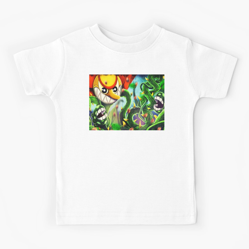 Cuphead Mugman Flower fight floral fury Kids T-Shirt