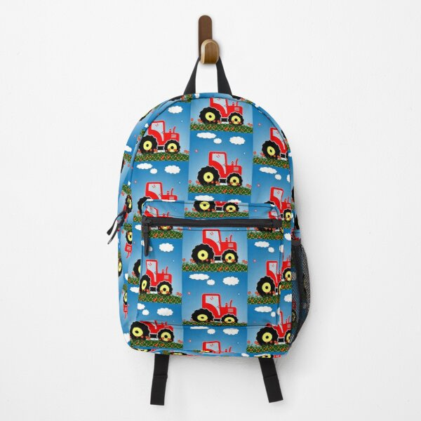 Red tractor in a field Backpack