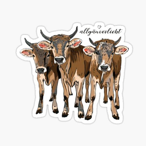 allgäuverliebt – drei junge Kühe mit Löwenzahn   Sticker