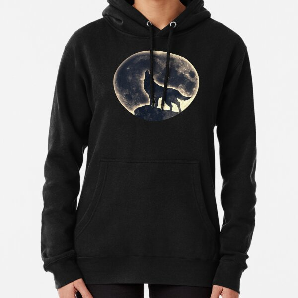 Wolf, moon, fantasy, wild, dog, wolves Pullover Hoodie