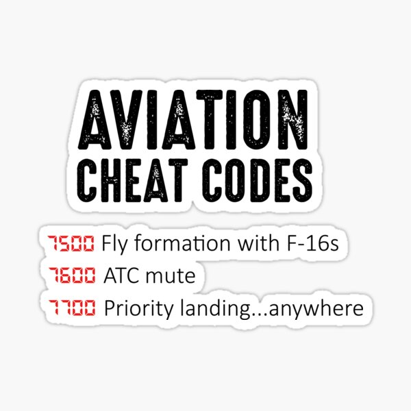 Aviation Cheat Codes - Funny Design For Pilots and ATC Sticker