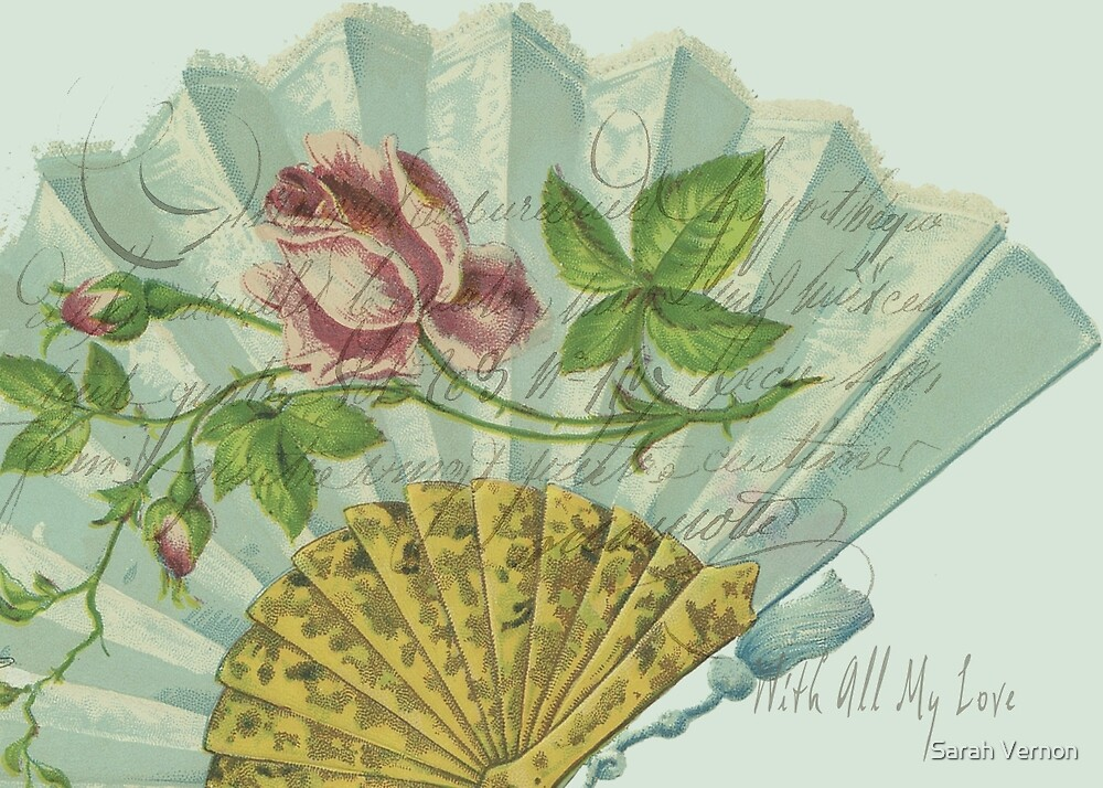 Decorated Valentine Fan by Sarah Vernon