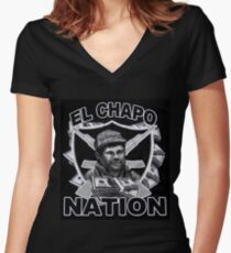 El Chapo Nation Women's Fitted V-Neck T-Shirt