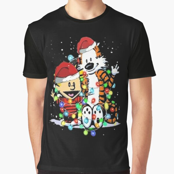 Calvin and Hobbes With Lights Christmas Ornament Unisex Shirt Graphic T-Shirt