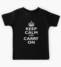 KEEP CALM, Keep Calm & Carry On, Be British! Blighty, UK, United Kingdom, white on black Kids Clothes