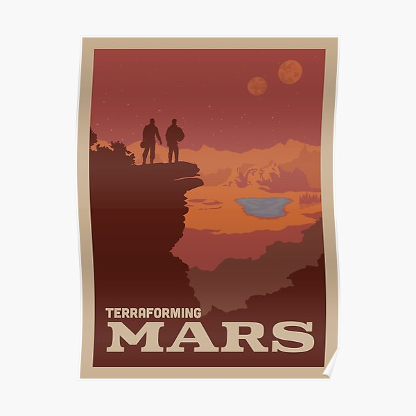 Terraforming Mars Board Game- Minimalist Travel Poster Style - Gaming Art Poster