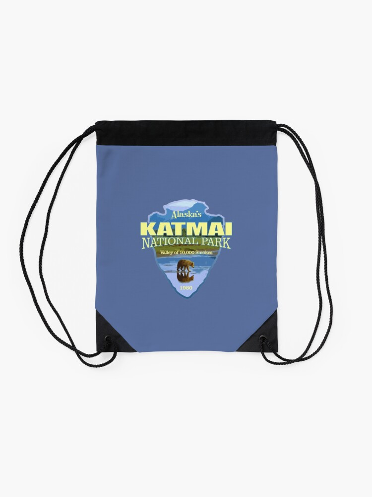 Alternate view of Katmai National Park (arrowhead) Drawstring Bag