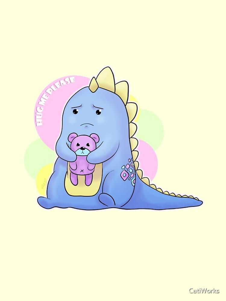 Sad Dino Series - Hug me Please by CatiWorks