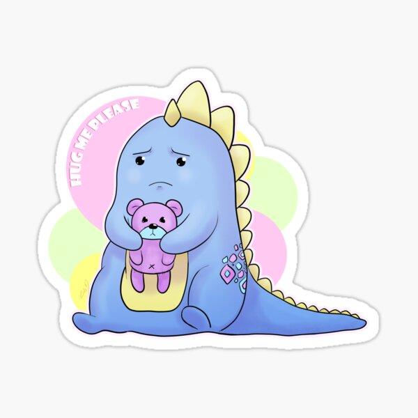 Sad Dino Series - Hug me Please Sticker