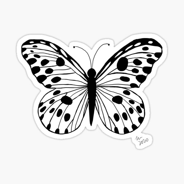 Minimalistic black and white butterfly.  Sticker