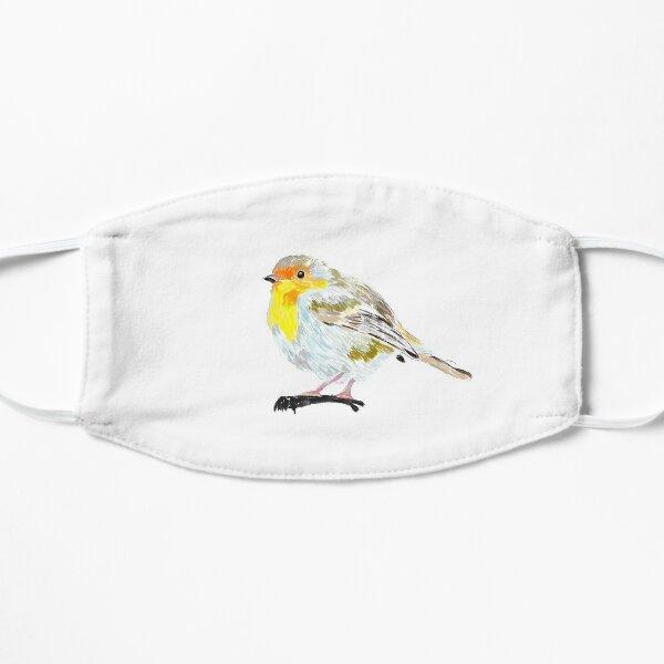 Rotkehlchen, süßer kleiner Vogel, der auf einem Ast sitzt Flache Maske