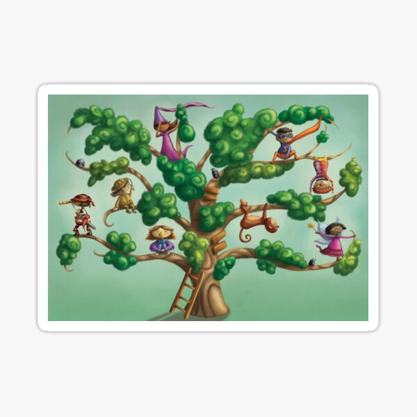 Playing dress up in a tree Sticker