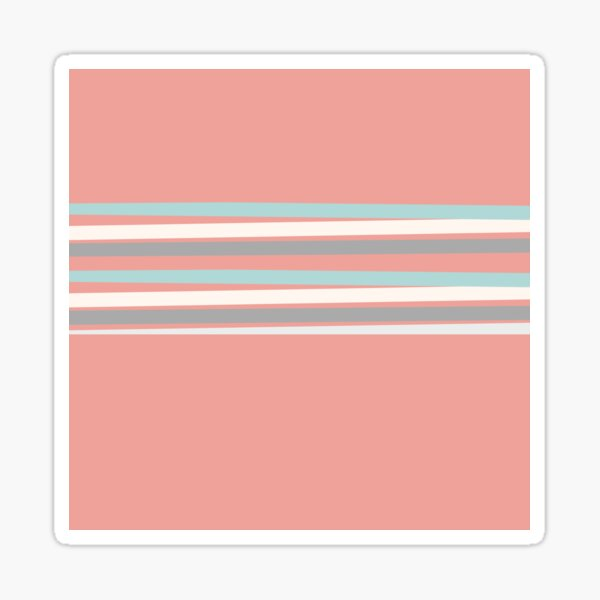 Coral and Teal Stripes Sticker