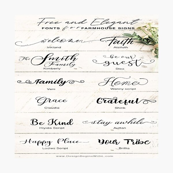 fonts handwriting Photographic Print