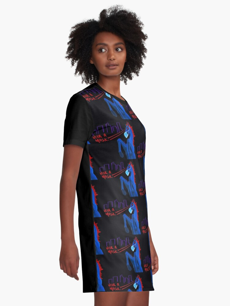 Alternate view of Blucifer Says Wear A Mask! Graphic T-Shirt Dress