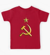 RUSSIA, USSR, Communist, Soviet Union, Hammer & Sickle, GOLD on RED Kids Clothes