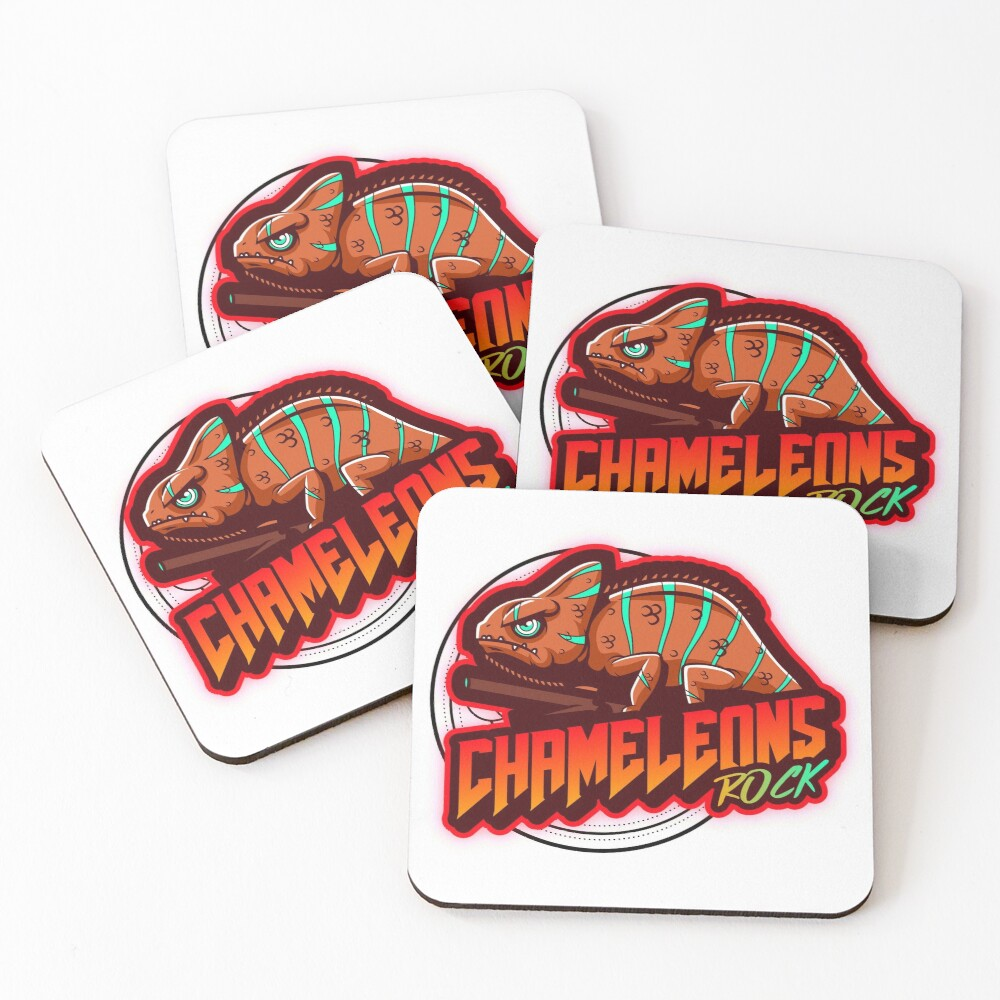 Chameleons Rock Colourful Bright Coasters (Set of 4)