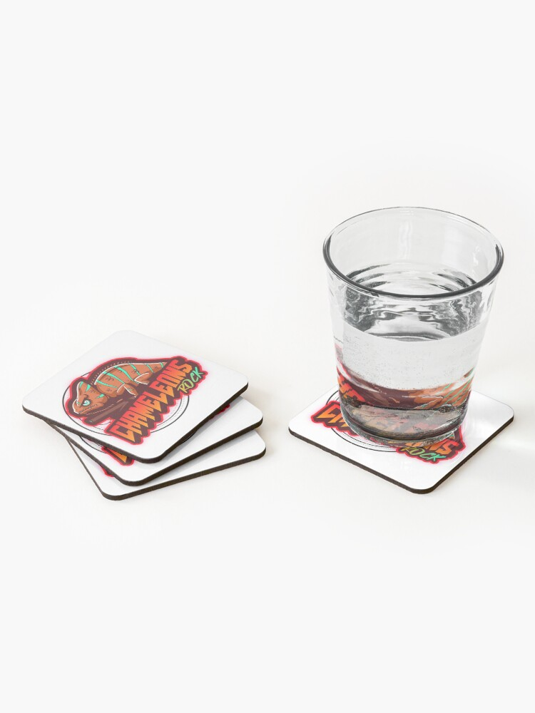 Alternate view of Chameleons Rock Colourful Bright Coasters (Set of 4)