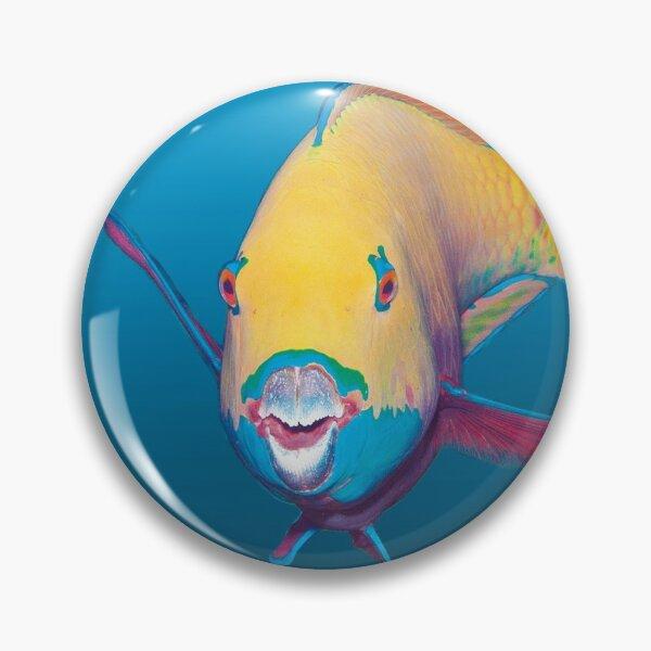 Bunter Papageifisch | Blauer Hintergrund |  Button
