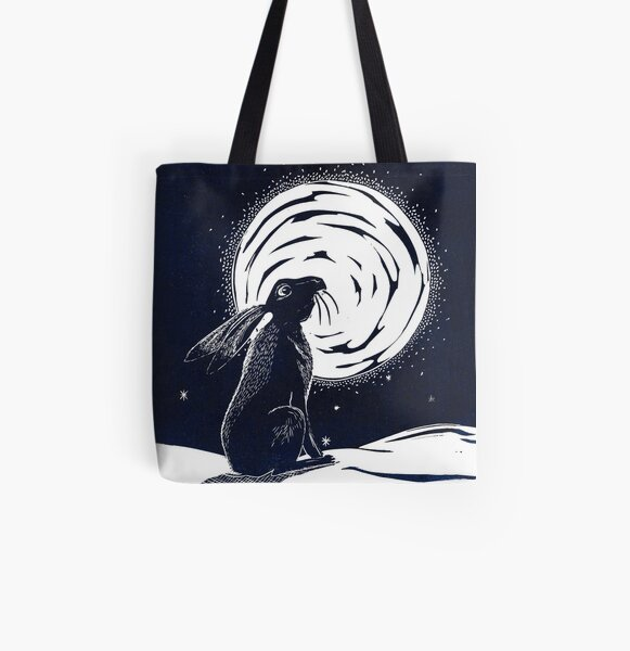Moon Gazing Hare All Over Print Tote Bag