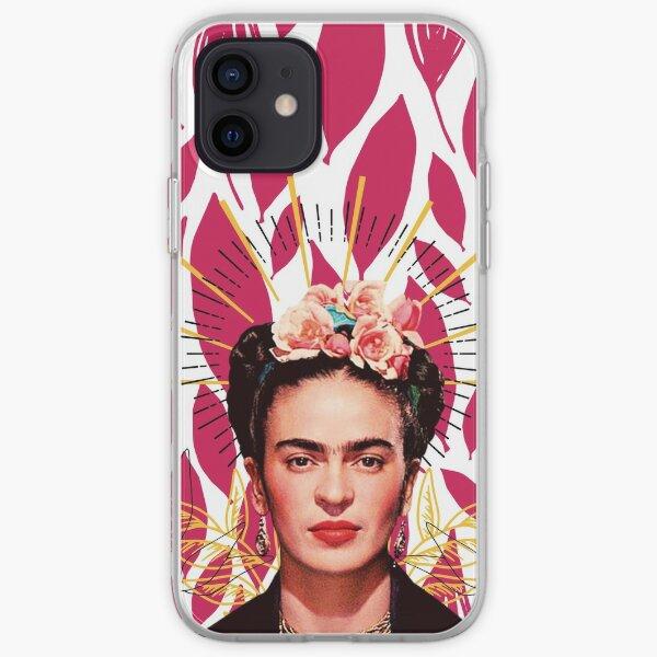 Estampado Frida Kahlo, flores color Funda blanda para iPhone
