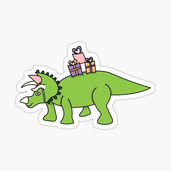 Dinosaurio de cumpleaños con regalos! Pegatina