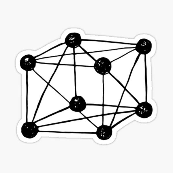Tesseract ~ 4-dimensional cube. retro science Sticker
