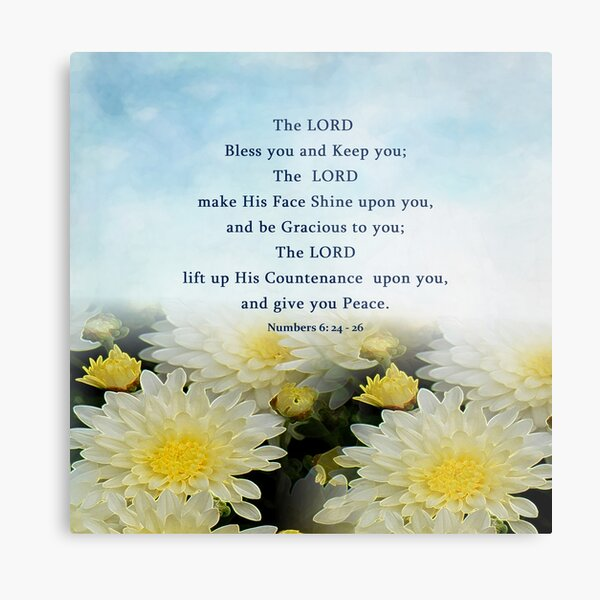 Gods Blessing Prayer - Aaronic Blessing -  Bible Verse - Numbers 6 Metal Print