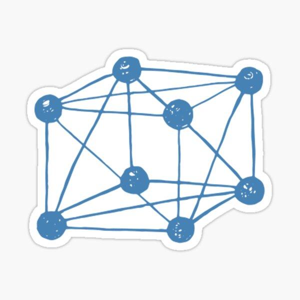 Tesseract ~ 4-dimensional cube. Blue retro science Sticker