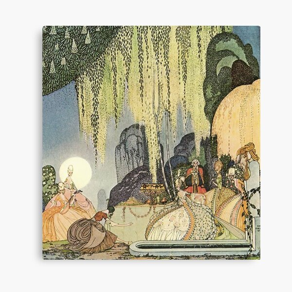 """The Queen of the Woods Kay Nielsen's illustrations for """"In Powder and Crinoline"""" (1913) Canvas Print"""