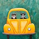 Sunny Yellow Road Trip Cats by Ryan Conners