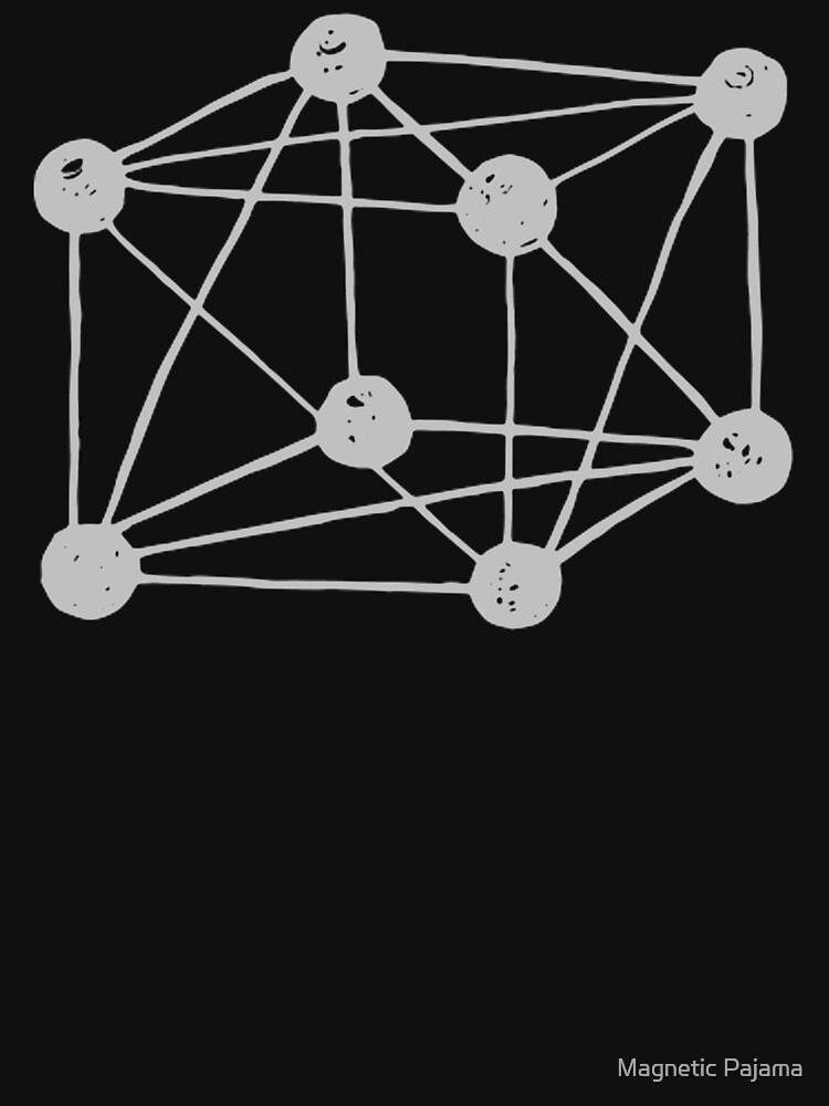 Tesseract ~ 4D cube. monochrome retro quantum physics by MagneticMama