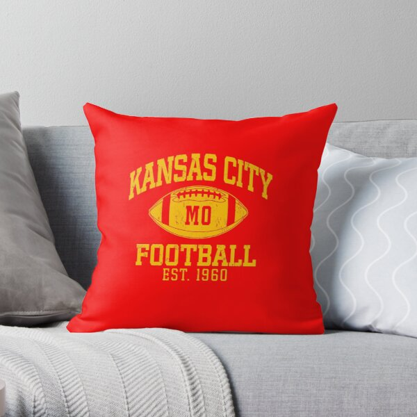 Vintage Retro KC Football Cool American Football Sport Lovers Fan Gift Throw Pillow