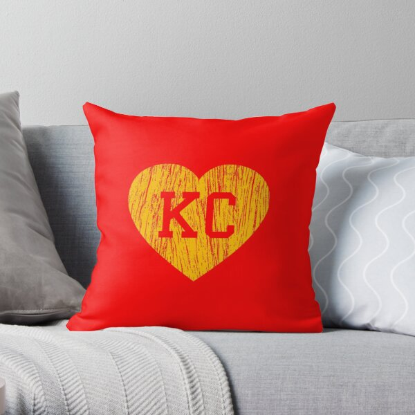 Vintage Retro KC Football Love Yellow Heart Art American Football Cool Sport Lovers Fan Gift Throw Pillow