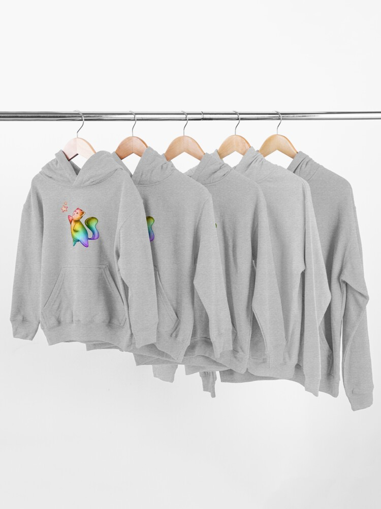 Alternate view of Bubble Cat, Rainbow Galaxy Bubble Cat, Reach For The Stars Kids Pullover Hoodie