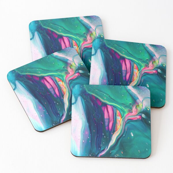 "Acrylic Pour Art Print, Aesthetic, ""Spaceship"" Coasters (Set of 4)"