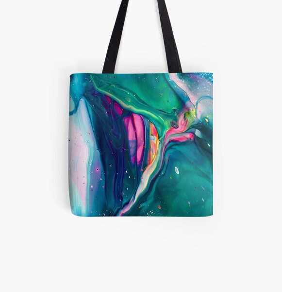 """Acrylic Pour Art Print, Aesthetic, """"Spaceship"""" All Over Print Tote Bag"""