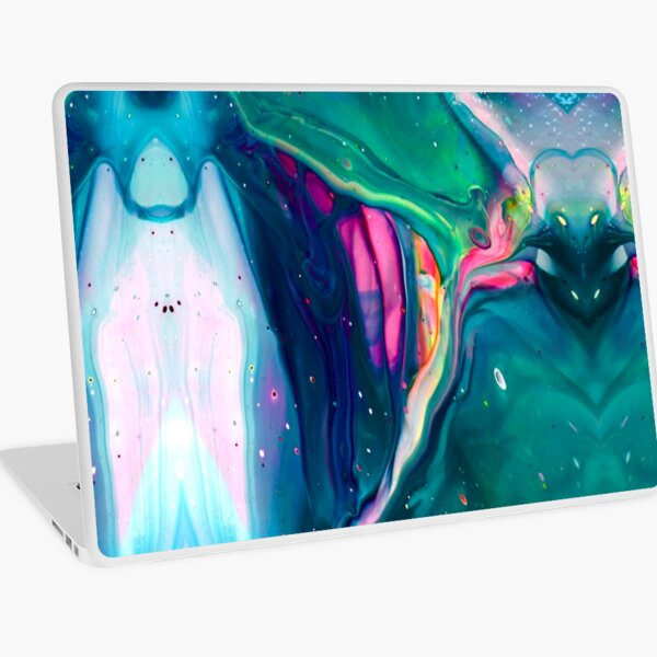 "Acrylic Pour Art Print, Aesthetic, ""Spaceship"" Laptop Skin"