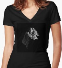 BLACK WHITE HOLE 1 Women's Fitted V-Neck T-Shirt