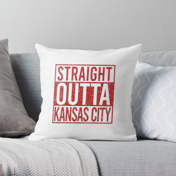 Vintage Retrro Straight Outta KC Football Red Art American Football Cool Sport Lovers Fan Gift Throw Pillow