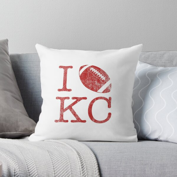 Vintage Retro Sunday Funday KC Football I Love American Football Red Art Sport Fan Gift Throw Pillow