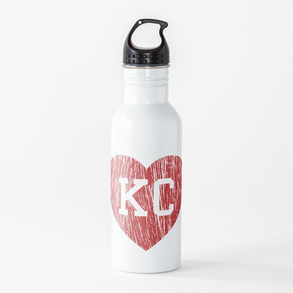 Vintage Retro KC Football Love Red Heart Art American Football Cool Sport Lovers Fan Gift Water Bottle