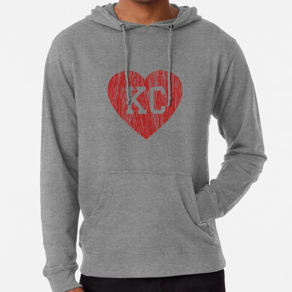 Vintage Retro KC Football Love Red Heart Art American Football Cool Sport Lovers Fan Gift Lightweight Hoodie