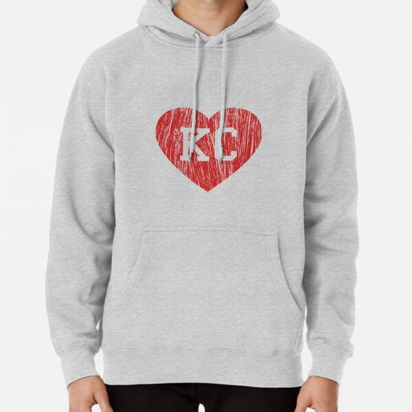 Vintage Retro KC Football Love Red Heart Art American Football Cool Sport Lovers Fan Gift Pullover Hoodie