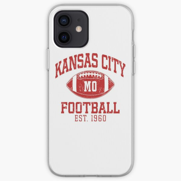 Vintage Retro KC Football Red Art Cool American Football Sport Lovers Fan Gift iPhone Soft Case