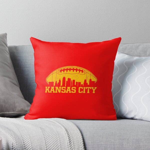 Vintage Retro Kansas City Football KC Skyline Missouri Cool Sport Lovers Fan Gift Throw Pillow